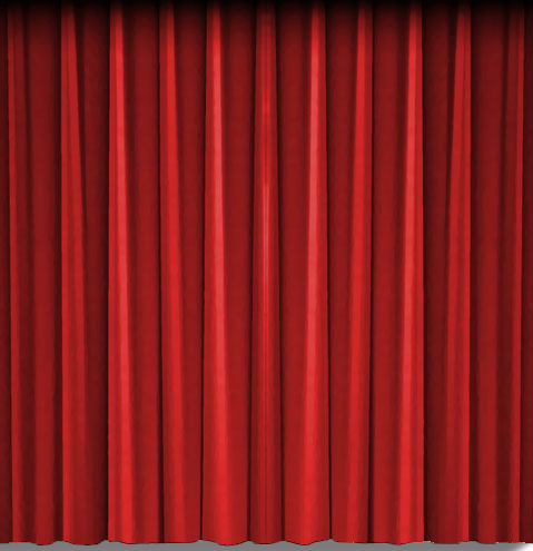 Red theatre curtain, left side